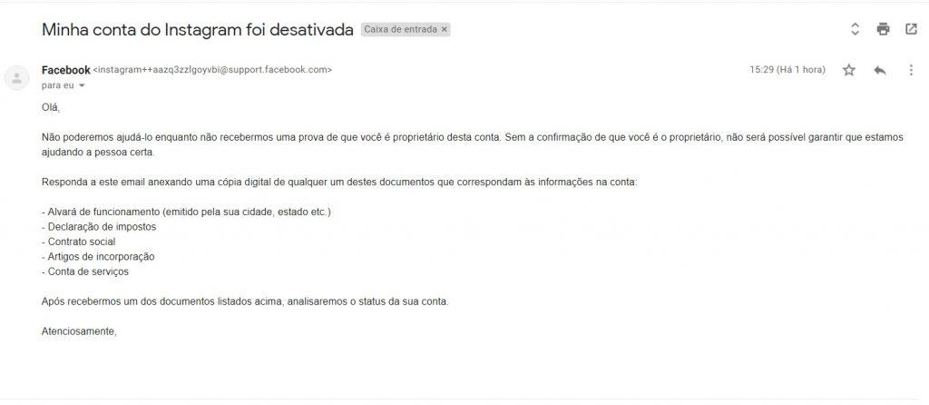 email de conta desativada do instagram