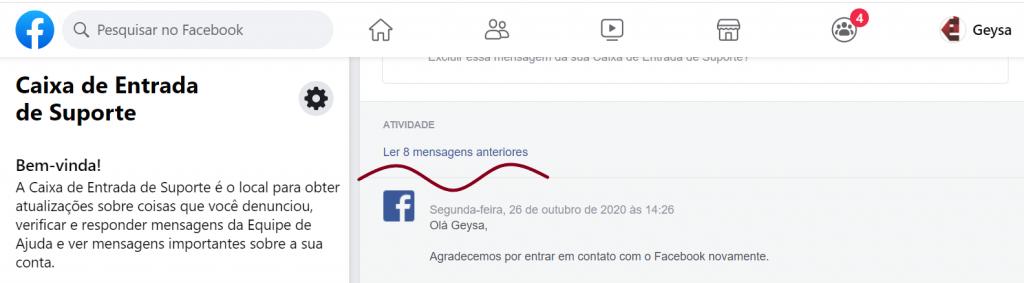 caixa de entrada de suporte Facebook